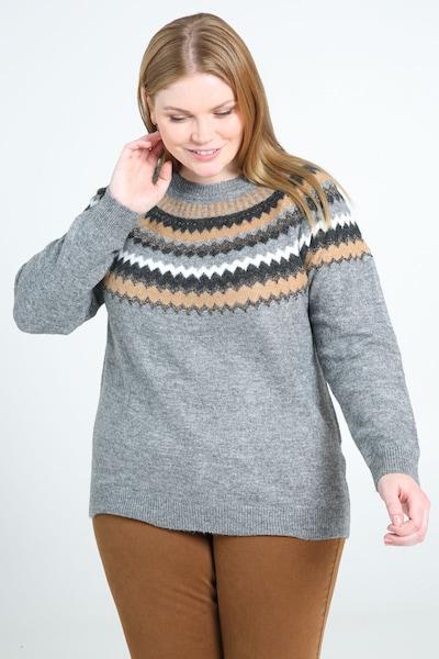 Paprika Pullover in grau / orange / schwarz / weiß, Modelansicht