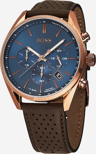 Analoginis (įprasto dizaino) laikrodis 'CHAMPION' iš BOSS , spalva - tamsiai mėlyna / tamsiai ruda / rožinio aukso spalva, Prekių apžvalga