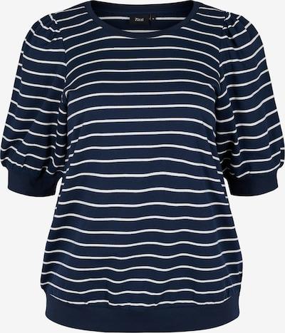 Zizzi Sweatshirt 'Efeluca' in dunkelblau / offwhite, Produktansicht