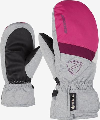 ZIENER Skihandschuhe 'Levin Mitten' in grau / pink / schwarz, Produktansicht