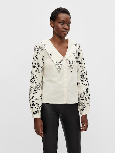 OBJECT Bluse 'Ronja' in beige / schwarz, Modelansicht