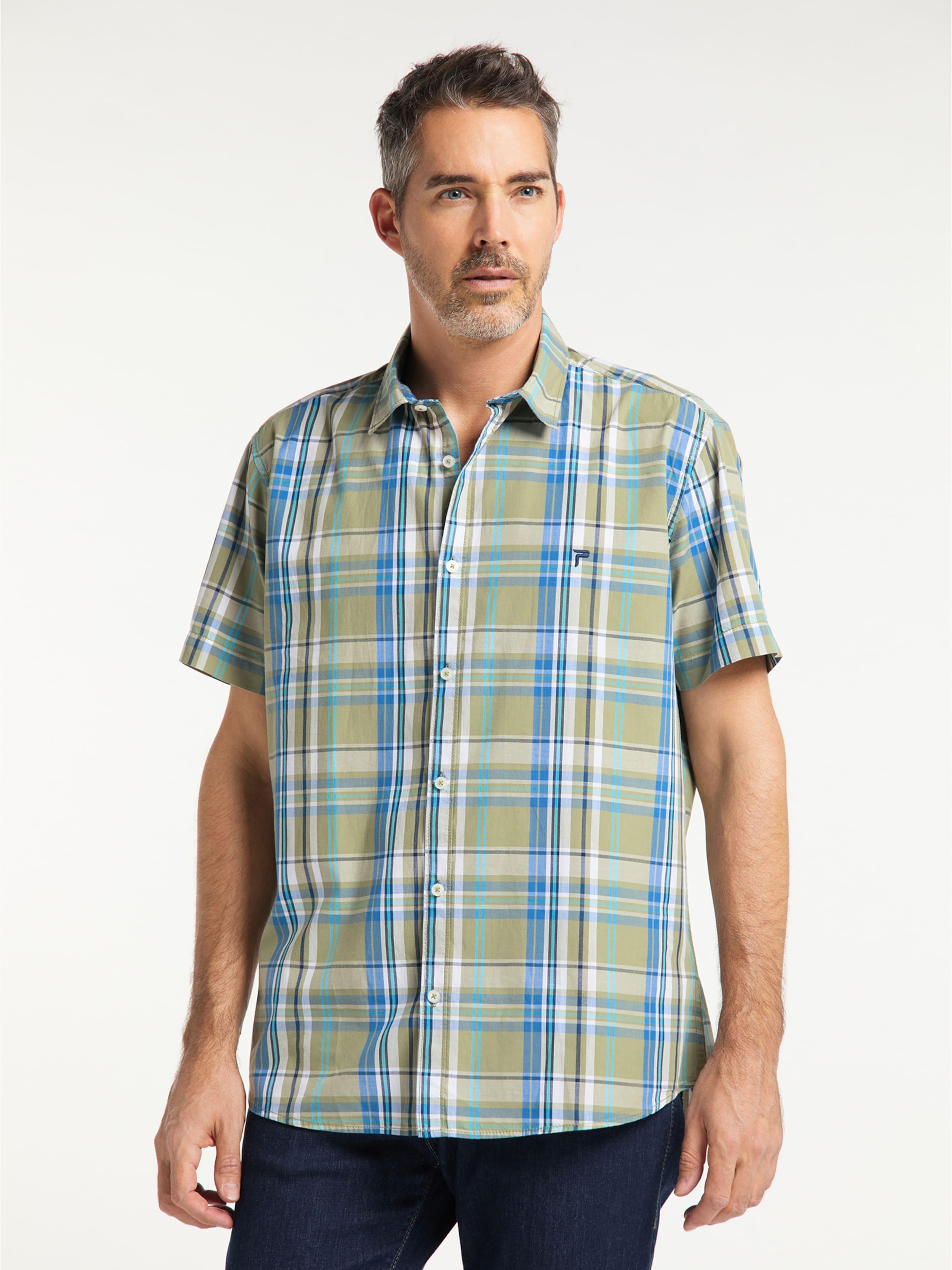 PIONEER Hemd in blau / weiß Baumwolle 07168/000/04278-638-L
