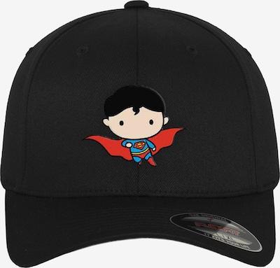 Mister Tee Pet ' Superman Comic Flexfit Cap ' in de kleur Zwart: Vooraanzicht