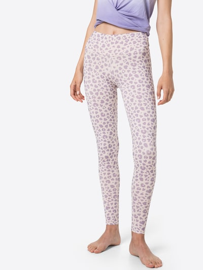 Hey Honey Workout Pants in Pastel purple / White, View model