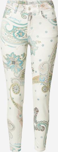 Desigual Pantalon en turquoise / gris foncé / vert / rose ancienne / blanc, Vue avec produit