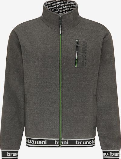 BRUNO BANANI Sweatjacke in grau / grün / schwarz / weiß, Produktansicht