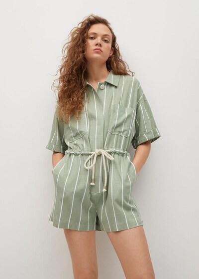 MANGO Jumpsuit 'FANI' in oliv / weiß, Modelansicht