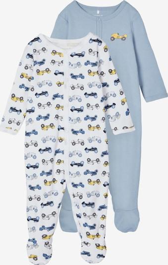 NAME IT Pidžama set u sivkasto plava / opal / žuta / crna / bijela, Pregled proizvoda