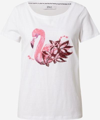 ONLY Majica 'KITA' | roza / vinsko rdeča / bela barva, Prikaz izdelka