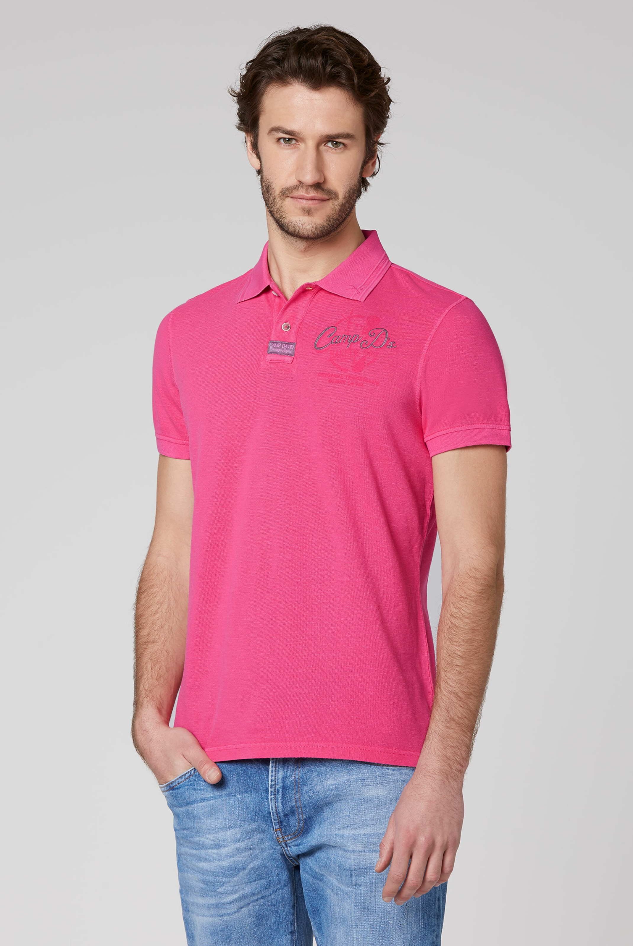 CAMP DAVID Poloshirt in pink Unifarben I00045894RED0286L