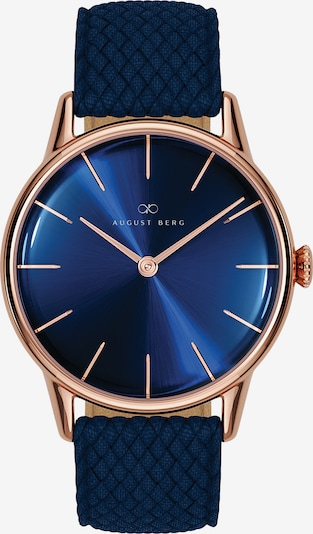 August Berg Uhr 'Serenity Deep Blue Blue Perlon 32mm' in blau / rosegold, Produktansicht