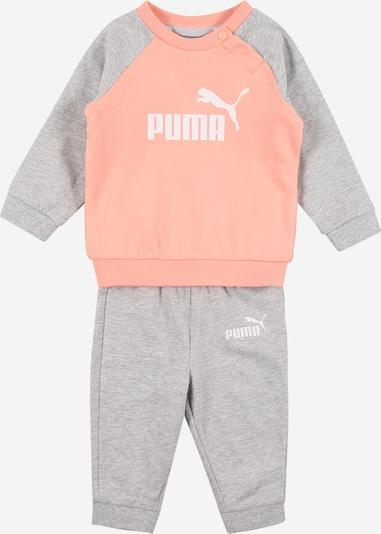 PUMA Jogginganzug in hellgrau / apricot / weiß, Produktansicht
