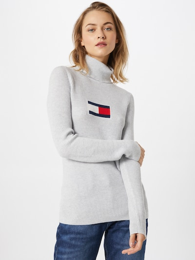 Tommy Jeans Pullover i mørkeblå / grå / rød / hvid, Modelvisning