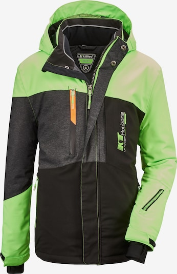 KILLTEC Sporta jaka 'Glenshee' tumši pelēks / neonzaļš / melns, Preces skats