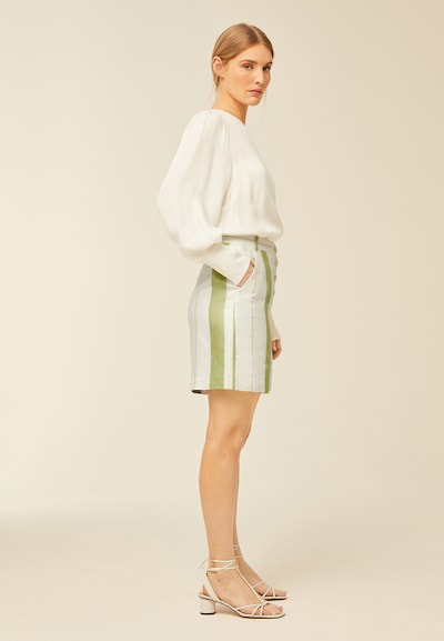 IVY & OAK Pantalon en vert / blanc, Vue avec modèle