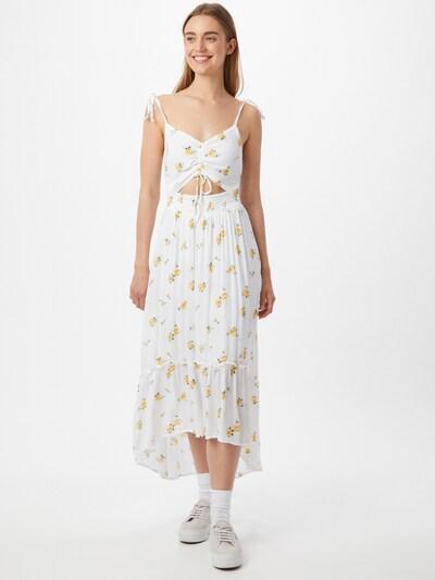 HOLLISTER Kleid in gelb / grasgrün / weiß, Modelansicht