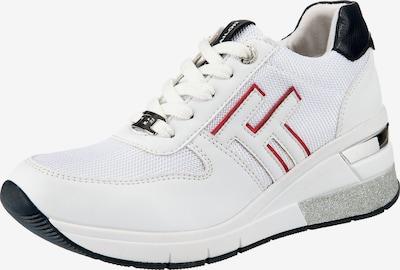 TOM TAILOR Sneaker in rot / schwarz / silber / weiß, Produktansicht