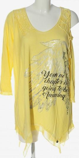 Tredy Longshirt in L in pastellgelb / hellgrau / schwarz, Produktansicht