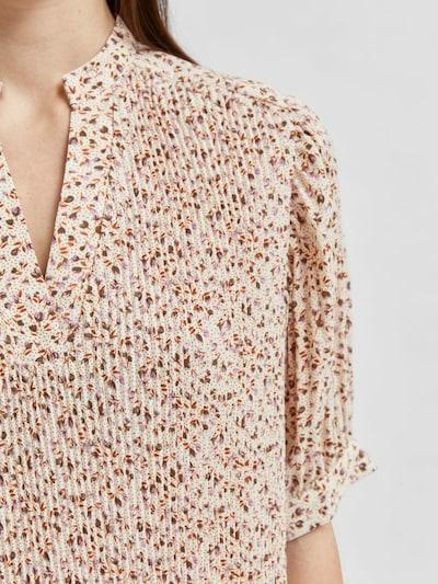 SELECTED FEMME Kleid in creme / hellbeige / rosa / dunkelrot, Produktansicht