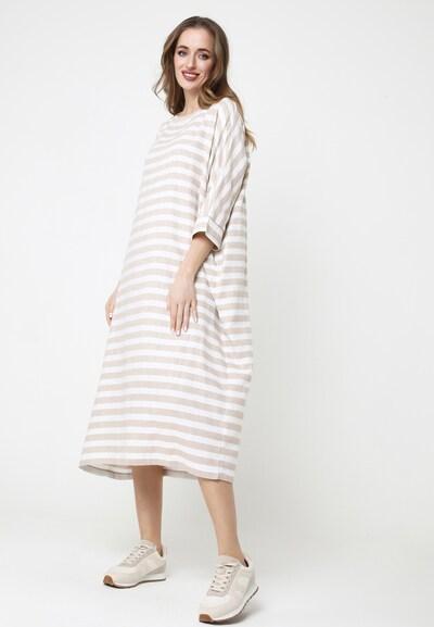 Madam-T Maxikleid 'FAILA' in beige / weiß, Modelansicht