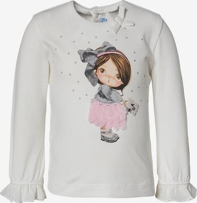 Mayoral Shirt in dunkelbraun / hellgrau / pastellorange / rosa / naturweiß, Produktansicht