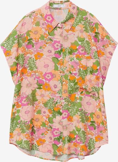 MANGO Блуза 'Lim' в зелено / светлооранжево / бледорозово / бяло, Преглед на продукта