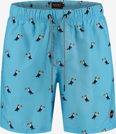 Shiwi Shorts de bain en bleu / moutarde / noir / blanc, Vue avec produit