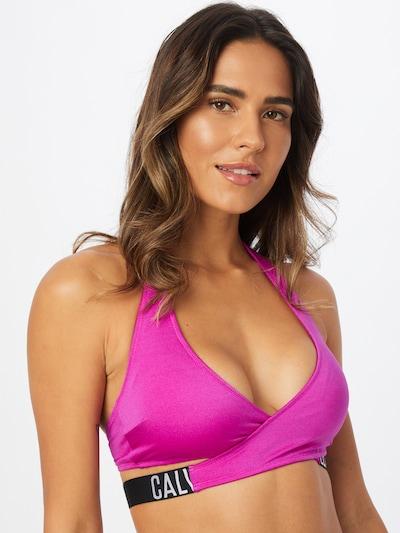 Calvin Klein Swimwear Bikinitop in de kleur Fuchsia / Zwart / Wit, Modelweergave