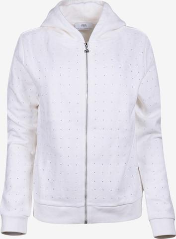 Le Temps Des Cerises Zip-Up Hoodie in White