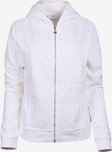 Le Temps Des Cerises Sweatjacke ODA in kuscheligem Design in weiß, Produktansicht