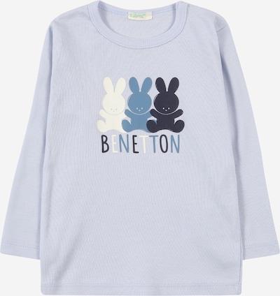 UNITED COLORS OF BENETTON Тениска в нейви синьо / опушено синьо / бяло, Преглед на продукта