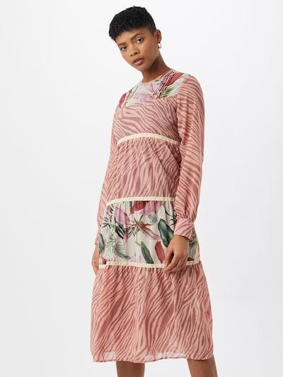 Femi Stories Košilové šaty 'BOHA' - zelená / růže / starorůžová / bílá, Model/ka