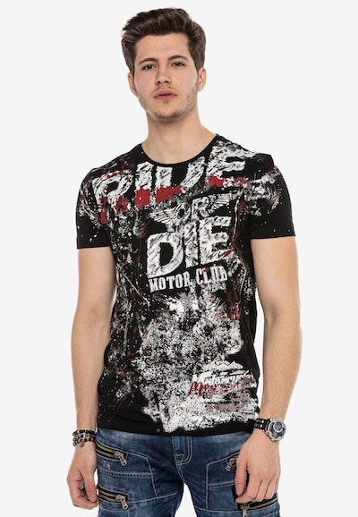 CIPO & BAXX T-Shirt 'RIDE OR DIE' mit grafischem Print in schwarz: Frontalansicht