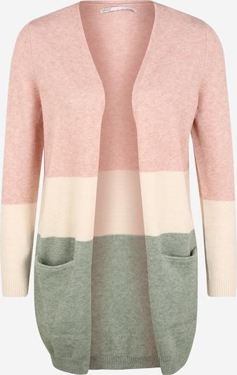 Only (Petite) Gebreid vest 'QUEEN' in de kleur Crème / Groen gemêleerd / Oudroze, Productweergave