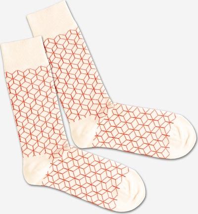 DillySocks Socken 'White Lining' in rot / weiß, Produktansicht