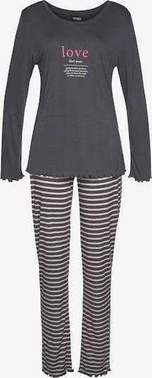 VIVANCE Pyjama in nude / dunkelgrau / melone / weiß, Produktansicht