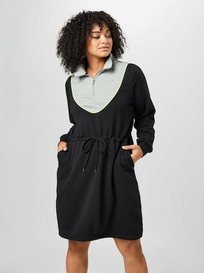 Zizzi Kleid 'MIRENE' in neongelb / graumeliert / schwarz, Modelansicht