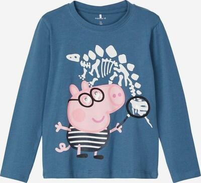 NAME IT Shirt 'PEPPAPIG JAKOMAS' in taubenblau / pink / schwarz / weiß, Produktansicht