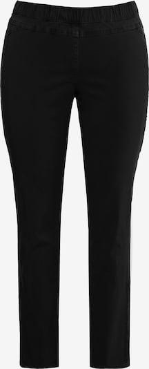 Ulla Popken Damen große Größen  bis 64, Bengalinhose,  blickdicht unterlegte Spitze, Schmale Form, Elastikbund,  720718 in schwarz: Frontalansicht
