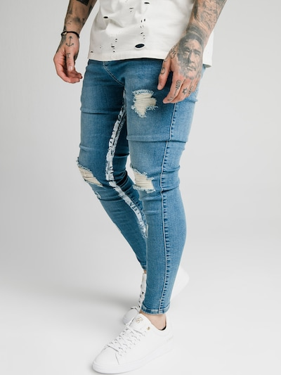 SikSilk Jeans in blue denim, View model