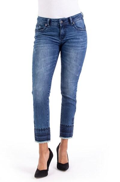Blue Monkey Skinny Fit Jeans Laura mit Stickerei in blau, Modelansicht