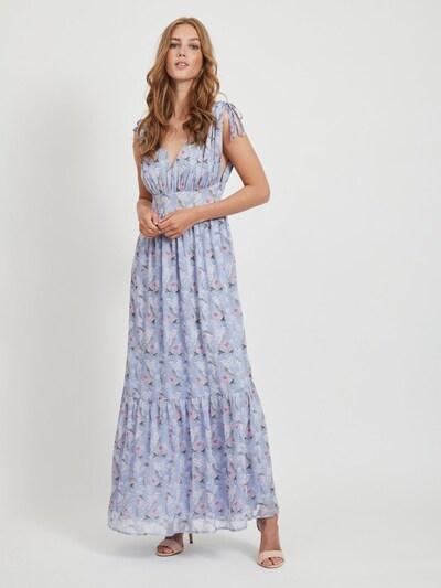 VILA Kleid in taubenblau / grau / hellpink / weiß, Modelansicht