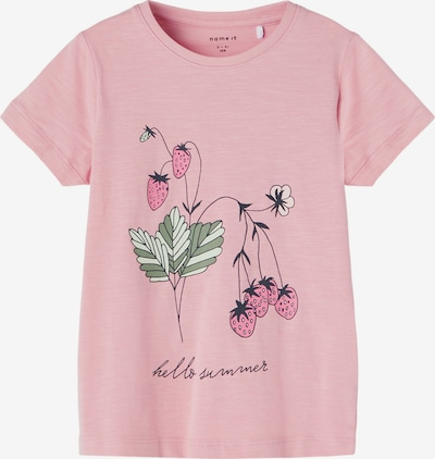 NAME IT T-Shirt 'Jasmin' in tanne / pastellgrün / hellgrün / altrosa / hellpink, Produktansicht