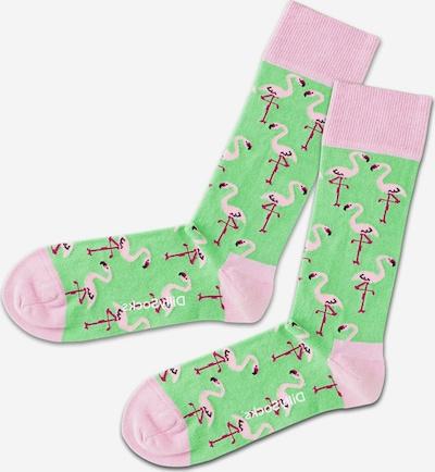 DillySocks Socken 'Flamingo Lawn' in hellgrün / pink / hellpink, Produktansicht