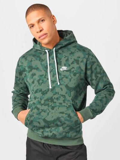 Nike Sportswear Sweatshirt 'NSW CLUB' in dunkelgrün / weiß: Frontalansicht