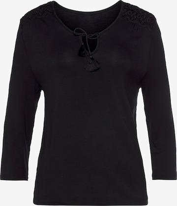 LASCANA Shirt in Schwarz