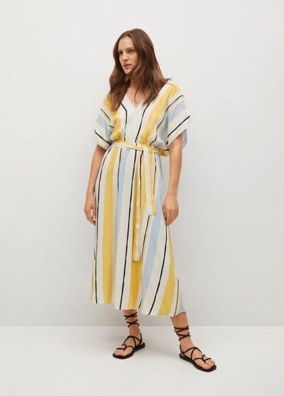 MANGO Kleid  'Wes' in hellblau / gelb / weiß, Modelansicht