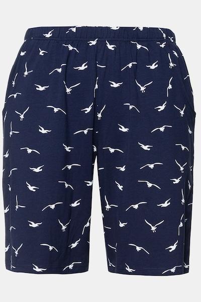 Ulla Popken Jerseyshorts in dunkelblau / weiß, Produktansicht