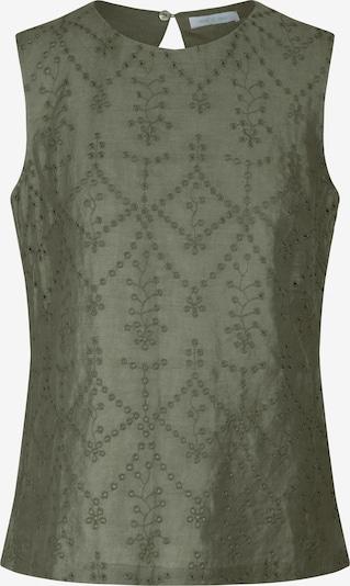 mint & mia Bluse mit Stickerei in gerader Form in khaki, Produktansicht