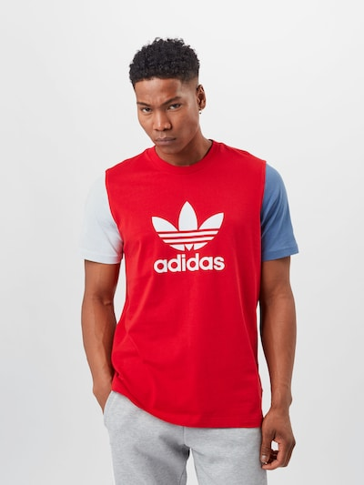 ADIDAS ORIGINALS Shirt 'TREFOIL' in Dusty blue / Red / White: Frontal view